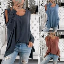 Sexy Off-shoulder Long Sleeve Round Neck Slit Hem Solid Color T-shirt