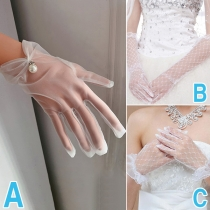 Fashion Gauze Wedding Gloves