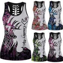Sexy Backless U-neck Elk Printed Slim Fit Tank Top