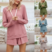 Fashion Solid Color Long Sleeve Hooded Sweatshirt + Shorts Two-piece Set