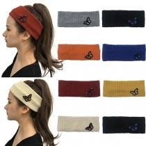 Fashion Solid Color Butterfly Spliced Knit Headband