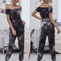 Sexy Off-shoulder Boat Neck Short Sleeve High Waist Printed Jumpsuit