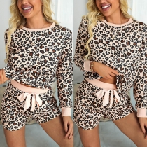 Fashion Leopard Printed Long Sleeve Round Neck Top + Shorts two-piece Set