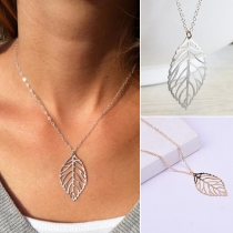 Fashion Hollow Out Leaf Pendant Necklace