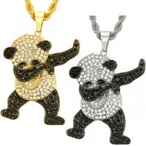 Cute Style Rhinestone Panda Pendant Necklace