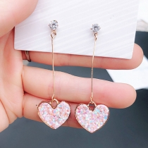 Sweet Style Rhinestone Inlaid Hear Pendant Earrings