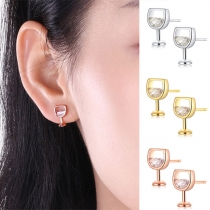 Creative Style Rhinestone Inlaid Wine Glass Shaped Stud Earrings