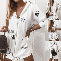 Fashion Long Sleeve Hooded Letters Printed Cardigan