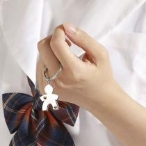 Hip-hop Style Silver-tone Boy-shaped Pendant Key-chain