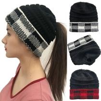 Fashion Plaid Spliced Knit Beanies
