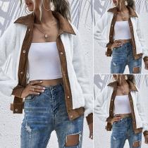 Fashion Contrast Color Long Sleeve POLO Collar Plush Coat