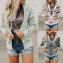 Fashion Camouflage Printed Long Sleeve Hooded Sweatshirt Coat