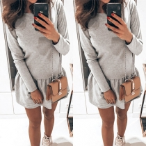Fashion Solid Color Long Sleeve Round Neck Ruffle Hem Dress