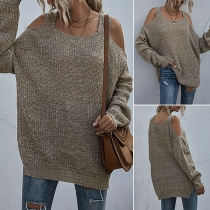 Sexy Off-shoulder Long Sleeve Sling Knit Top