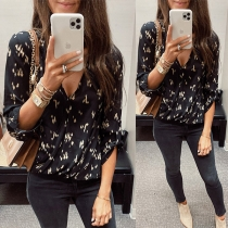 Sexy V-neck Long Sleeve Printed Blouse