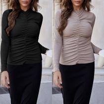 Fashion Solid Color Long Sleeve Slim Fit Wrinkled T-shirt