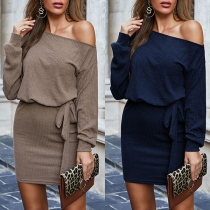 Sexy Off-shoulder Long Sleeve Solid Color Slim Fit Dress