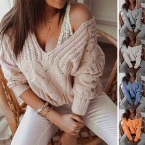 Fashion Solid Color Long Sleeve V-neck Knit Top