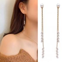 Fashion Rhinestone Inlaid Long Tassel Earrings