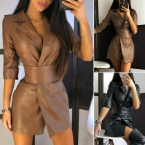 Fashion Solid Color Notched Lapel PU Leather Cardigan with Girdle