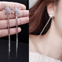 Fashion Long Sleeve Pendant Snowflake Shaped Earrings