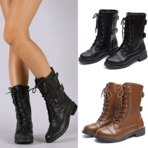 Retro Style Flat Heel Round Toe Lace-up Martin Boots