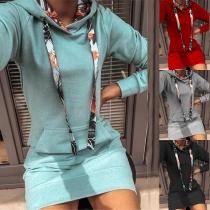 Fashion Printed Spliced Long Sleeve Hooded Slim Fit Long Sweatshirt