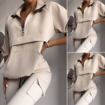 Fashion Solid Color Long Sleeve Stand Collar Sweatshirt + Pants Two-piece Set