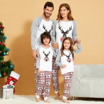 Cute Christmas Elk Printed Parent-child Nightwear Set