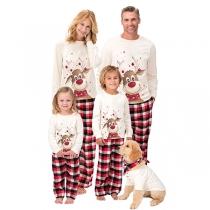 Cute Elk Printed Long Sleeve T-shirt + Pants Parent-child Nightwear Set