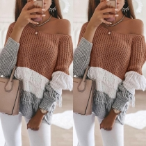 Sexy Off-shoulder Boat Neck Long Sleeve Contrast Color Tassel Sweater
