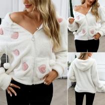 Sweet Style Heart Pattern Long Sleeve Hooded Plush Sweatshirt Coat