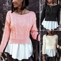 Fashion Ruffle Spliced Hem Long Sleeve Round Neck Sweater