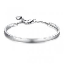 Fashion Silver-tone Heart Pendant Bracelet