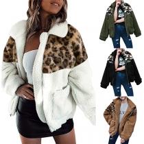Fashion Leopard Spliced Long Sleeve Plush Coat