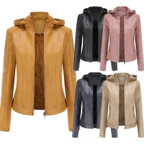 Fashion Solid Color Long Sleeve Hooded OU Leather Coat