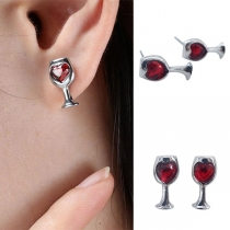 Fashion Red Heart Rhinestone Inlaid Wine Glass Shaped Stud Earrings